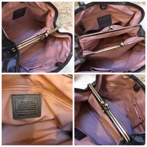 Coach Bags - COACH Silver/Gray Lurex SIS Framed CarryAll 20427